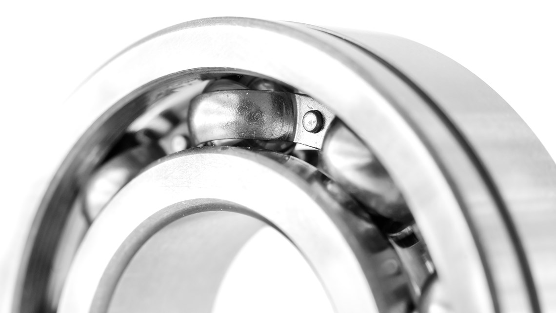 Close-up of ball bearings in gray and white